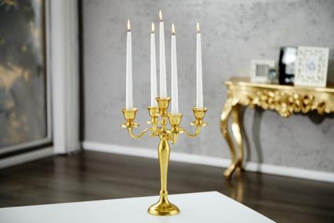 Casa Padrino Designer Kerzenhalter aus poliertem Aluminium Gold Shine Classic 5-armig Höhe 40 cm - Kerzenständer