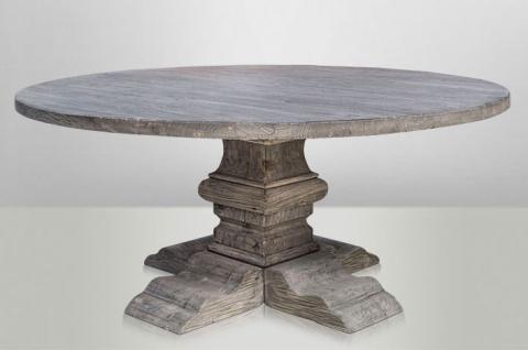 Casa Padrino Landhaus Esstisch Rund Eiche Rustic Grey - Barock Stil Tisch Eiche Massiv