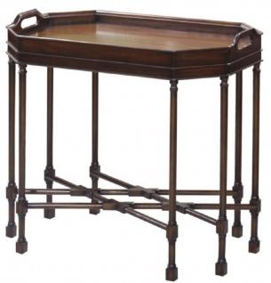 Casa Padrino Luxus Couchtisch / Serviertisch Dunkelbraun 66 x 41 x H. 62 cm - Mahagoni Wohnzimmertisch mit abnehmbarem Tablett