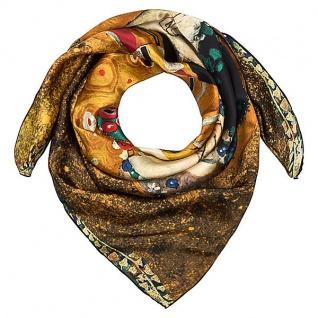 """Designer Satintuch mit einem berühmten Motiv des Jugendstilmalers Gustav Klimt """" Der Kuss"""" 100 % Seide - sehr elegantes und hochwertiges Seidentuch - Luxus Qualität"""
