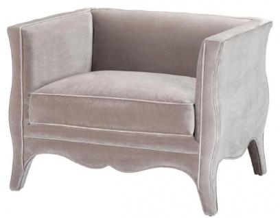 Casa Padrino Luxus Wohnzimmer Samt Sessel Grau 100 x 79 x H. 75 cm - Wohnzimmermöbel