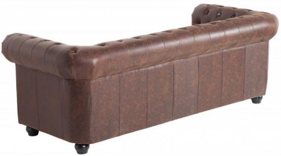 Casa Padrino Chesterfield Sofa Vintage Braun 200 x 85 x H. 70 cm - Kunstleder 3er Couch - Chesterfield Wohnzimmer Möbel - Vorschau 3