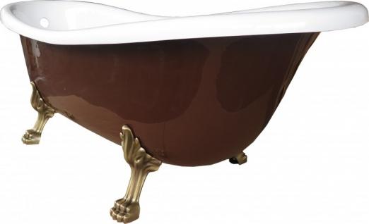 Freistehende Luxus Badewanne Jugendstil Roma Braun/Weiß/Altgold 1695mm von Casa Padrino - Barock Badezimmer - Retro Antik Badewanne - Vorschau 2