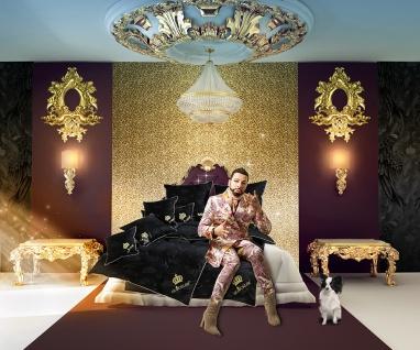 Harald Glööckler Designer Seiden Luxus Bettwäsche Schwarz / Gold 135 x 200 cm + Casa Padrino Luxus Barock Bleistift mit Kronendesign - Vorschau 4