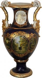 Casa Padrino Barock Vase Blau / Gold / Weiß 34 x 29 x H. 58, 5 cm - Prunkvolle Porzellan Vase mit 2 Griffen