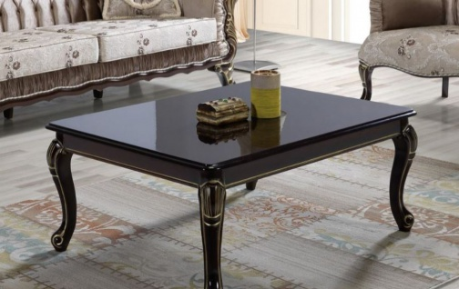 Casa Padrino Barock Couchtisch Schwarz / Gold 104 x 80 x H. 45 cm - Massivholz Wohnzimmertisch im Barockstil - Barock Wohnzimmer Möbel
