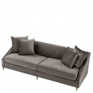 Casa Padrino Luxus Samtsofa Grau / Messingfarben 223 x 94 x H. 73 cm - Wohnzimmer Sofa mit 4 Kissen - Luxus Möbel - Vorschau 4
