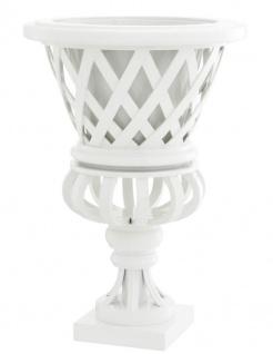 Casa Padrino Designer Mahagoni Übertopf Piano Weiß - Luxus Blumentopf mit Sockel
