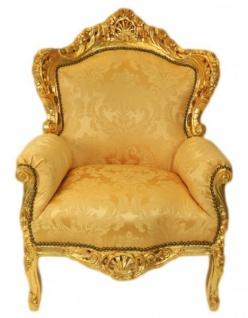Casa Padrino Barock Sessel King Gold Muster / Gold Bouquet - Möbel Antik Stil