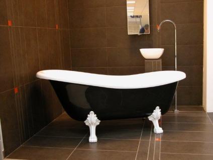 Freistehende Luxus Badewanne Jugendstil Roma Schwarz/Weiß/Weiß 1470mm - Barock Antik Badezimmer - Vorschau 3