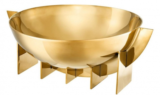Casa Padrino Luxus Edelstahl Schale Gold 30 x 25 x H. 11, 5 cm - Obstschale Schüssel - Hotel & Restaurant Deko Accessoires