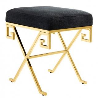 Casa Padrino Luxus Sitz Hocker Edelstahl Gold - Vintage Art Deco Möbel