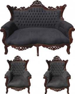 Casa Padrino Barock Wohnzimmer Set Schwarz/Braun - 2er Sofa + 2 Sessel - Limited Edition! - Vorschau 1