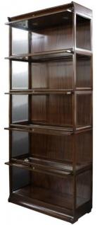Casa Padrino Luxus Mahagoni Bücherschrank mit 5 Glastüren und LED Beleuchtung Dunkelbraun 90 x 39 x H. 223 cm - Luxus Büromöbel - Vorschau 2