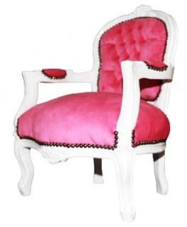 Barock Kinder Stuhl Rosa/Weiß - Armlehnstuhl - Vorschau 2