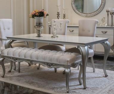 Casa Padrino Luxus Barock Esstisch Weiß / Silber - Eleganter Massivholz Küchentisch im Barockstil - Barock Esszimmer Möbel