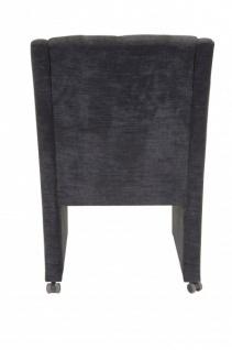 Casa Padrino Designer Esszimmer Stuhl / Sessel ModEF 310 Dunkelgrau - Hoteleinrichtung- Sessel auf Rollen - Vorschau 4