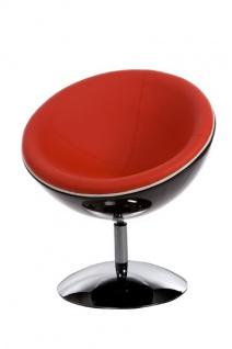 Casa Padrino Designer Drehsessel, Schwarz-Hochglanz/Rot Lounge Sessel - Moderner Stuhl