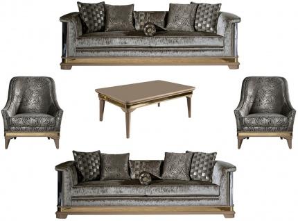 Casa Padrino Luxus Art Deco Wohnzimmer Set Silber / Schwarz / Beige / Gold - 2 Sofas & 2 Sessel & 1 Couchtisch - Art Deco Wohnzimmer Möbel
