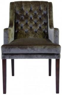 Casa Padrino Designer Esszimmer Stuhl mit Armlehnen ModEF 309 Taupe / Braun - Hoteleinrichtung - Buchenholz - Chesterfield Design - Vorschau 5