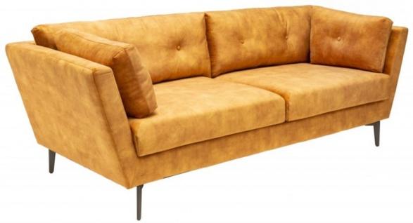 Casa Padrino Samt Sofa 220 x 90 x H. 85 cm - Verschiedene Farben - Wohnzimmer Sofa mit Kissen - Wohnzimmer Möbel