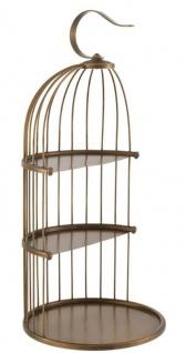 Casa Padrino Designer Etagere 3-Stufig mit Tragegriff Antik Messingfarben Ø 16, 5 x H. 35, 5 cm - Luxus Messing Etagere im Vogelkäfig Design - Vorschau 1