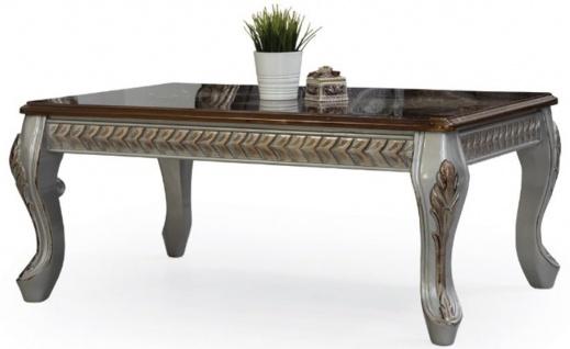 Casa Padrino Luxus Barock Couchtisch Braun / Silber / Bronze 115 x 77 x H. 48 cm - Massivholz Wohnzimmertisch - Wohnzimmer Möbel im Barockstil