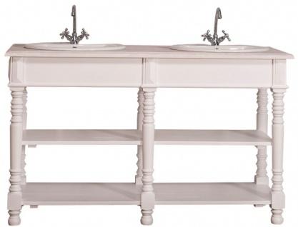 Casa Padrino Landhausstil Doppel Waschbeckenschrank Weiß / Hellgrau 150 x 54 x H. 90 cm - Massivholz Waschtisch - Badezimmermöbel im Landhausstil