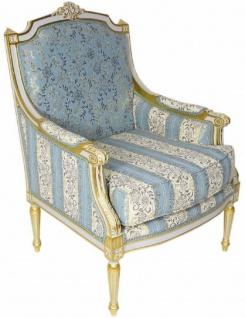 Casa Padrino Barock Lounge Thron Sessel mit elegantem Muster Türkis / Creme / Weiß / Gold 70 x 70 x H. 100 cm - Barock Möbel