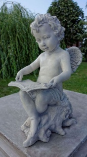 Casa Padrino Jugendstil Skulptur Engel Mit Buch Grau 18 X H 40 Cm