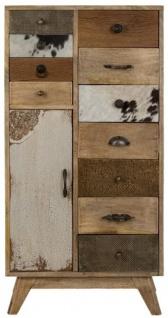 Casa Padrino Landhausstil Kommode Naturfarben / Mehrfarbig 55 x 30 x H. 110 cm - Landhausstil Schrank mit Tür und 11 Schubladen