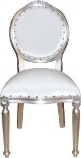 Casa Padrino Barock Medaillon Luxus Esszimmer Stuhl ohne Armlehnen in Weiss / Silber - Limited Edition