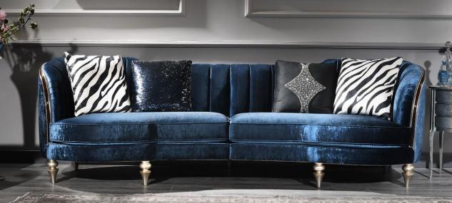 Casa Padrino Luxus Barock Samt Sofa Blau / Silber / Dunkelbraun 262 x 104 x H. 80 cm - Barock Möbel