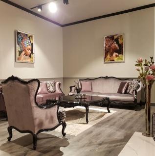 Casa Padrino Luxus Barock Sofa Rosa / Schwarz - Prunkvolles Wohnzimmer Sofa - Barock Wohnzimmer Möbel - Luxus Qualität - Vorschau 2