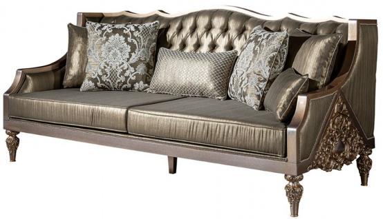 Casa Padrino Luxus Barock Wohnzimmer Set Grün / Silber / Kupfer / Gold - 2 Sofas & 2 Sessel & 1 Couchtisch - Wohnzimmer Möbel im Barockstil - Edel & Prunkvoll - Vorschau 3