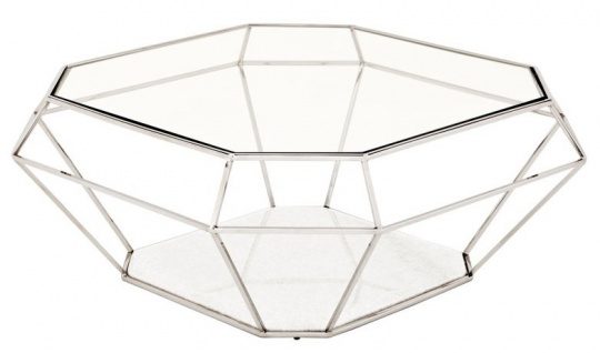 Casa Padrino Luxus Art Deco Couchtisch Glas / Nickel Finish - Glastisch - Luxus Kollektion