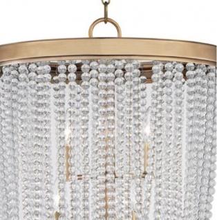 Casa Padrino Luxus Hängeleuchte Antik Messingfarben Ø 46, 4 x H. 70, 5 cm - Runde Pendelleuchte mit Kristallglas - Vorschau 2