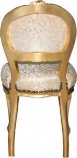 Casa Padrino Barock Damen Stuhl Creme Muster / Gold mit Bling Bling Glitzersteinen - Schminktisch Stuhl - Vorschau 3