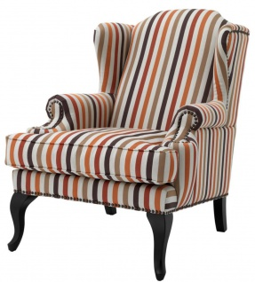 Casa Padrino Sessel mehrfarbig mit schwarzen Beinen 81 x 104 x H. 104 cm - Luxus Kollektion