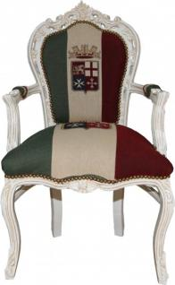 Casa Padrino Barock Esszimmer Stuhl mit Armlehnen Italien / Weiß - Antik Stil