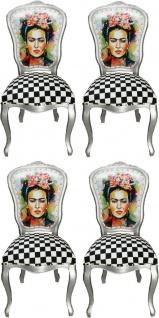 Casa Padrino Luxus Barock Esszimmer Set Madmoisell Silber / Mehrfarbig 55 x 54 x H. 103 cm - 4 handgefertigte Esszimmerstühle - Barock Esszimmermöbel