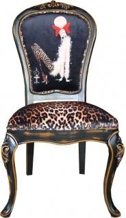 Casa Padrino Barock Luxus Esszimmer Stuhl Leopard / Schwarz / Braun Dame mit High Heels - Designer Möbel - Barockmöbel