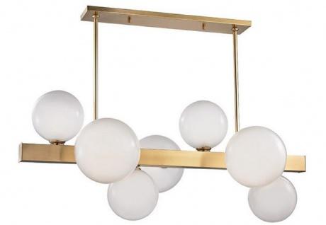 Casa Padrino Luxus LED Hängeleuchte Antik Messingfarben / Weiß 110, 5 x 54 x H. 47 cm - Luxus Kollektion