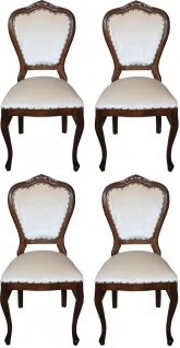Casa Padrino Luxus Barock Esszimmer Set Creme / Braun 45 x 46 x H. 99 cm - 4 handgefertigte Esszimmerstühle - Barock Esszimmermöbel