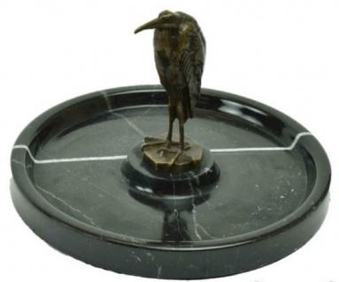 Casa Padrino Marmor Serviertablett mit Bronzefigur Vogel Schwarz / Bronze Ø 26 x H. 15 cm - Rundes Luxus Tablett - Gastronomie Accessoires