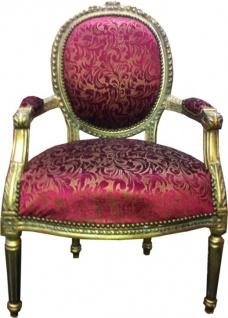 Salon Stuhl Violett Muster / Gold Mod2