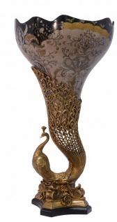 Casa Padrino Jugendstil Vase Pfau Messing / Porzellan 37.5 x H 72 cm - Barock Rokoko Home Deko