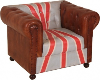 Chesterfield Luxus Echt Leder Sessel Union Jack / Braun 1 Sitzer Vintage Leder von Casa Padrino Englische Flagge England Möbel