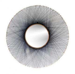 Casa Padrino Luxus Spiegel Schwarz / Messingfarben Ø 115 cm - Designer Möbel