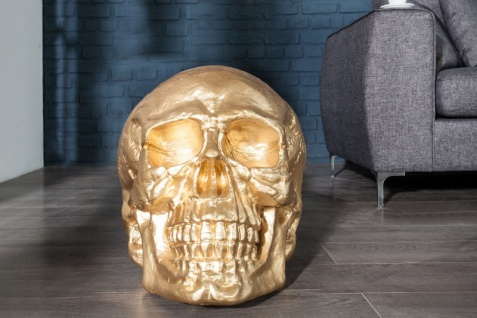 Casa Padrino Skulptur Totenkopf Skull Gold 40cm - Deko Figur
